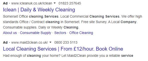 Google search ad copy