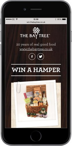 Rustic landing page for The Bay Tree Food Company – Mobile optimised