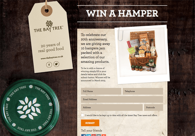 Rustic landing page for The Bay Tree Food Company