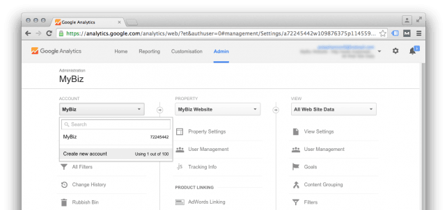 Create an additional account in Google Analytics