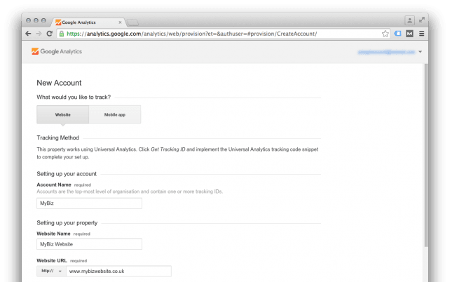 Set up Google Analytics new account