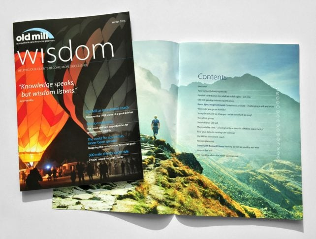 Old Mill Wisdom features corporate graphic design by Cognique